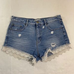 Free People Denim Distressed High Rise Shorts 29